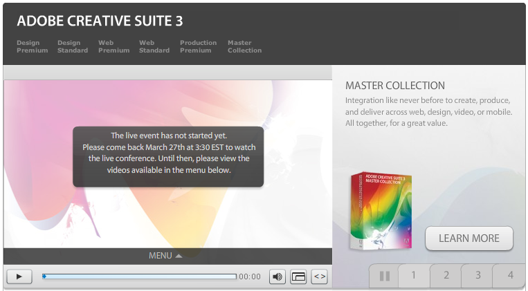 Adobe CS3 Launch event screener