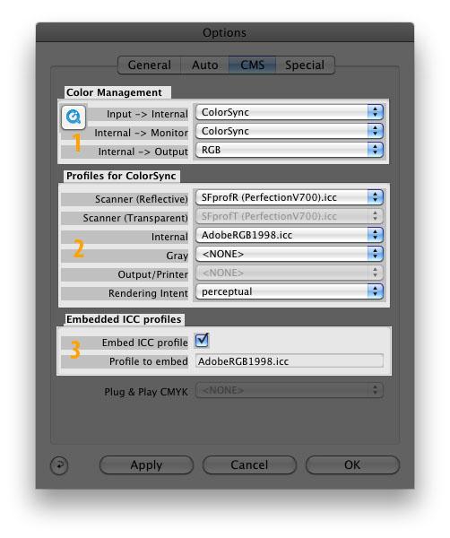 Color Management System dialogue components