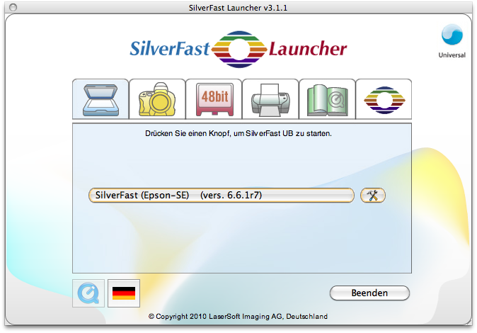 SilverFast Launcher, start button with rollover