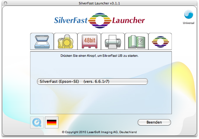 SilverFast launcher, no mouse rollover