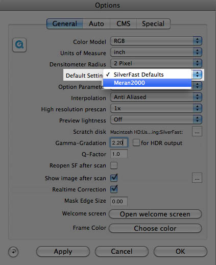 Default setting set to your desired configuration