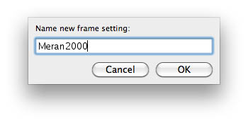 Frame settings name
