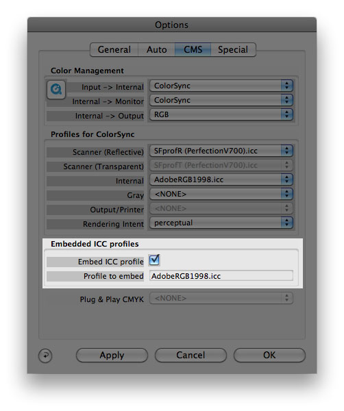 Embed ICC profiles option