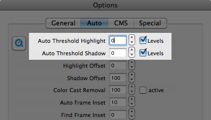 Threshold values for highlight and shadows